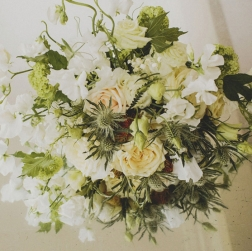 Prime Events, Weddings - White Bridal Bouquet, Thistles, Scotland, Aberdeen. Inverness